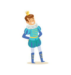 cute little smiling boy wearing a blue prince vector image