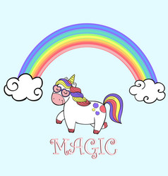 cute rainbow and cartoon walking unicorn vector image