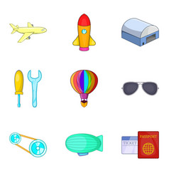 dirigible icons set cartoon style vector image
