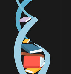 dna spiral made out of books on the dark vector image