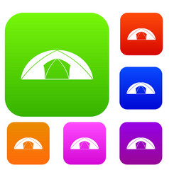 dome tent for camping set color collection vector image