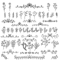 Doodles design elements flower decoration vector