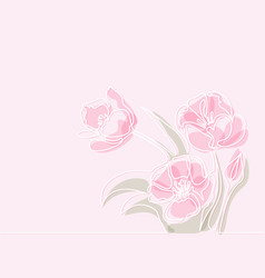 Drawing of beautiful tulips flower vector