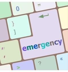 emergency word on keyboard key notebook computer vector image