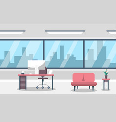 empty business office room with computer on table vector image