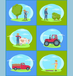 farmer working on farm with machinery and tools vector image