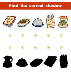 find correct shadow set kitchen utensils vector image