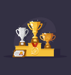 first rewards with golden silver and bronze cups vector image