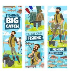 Fishing and fisher man fish catch in net banners vector