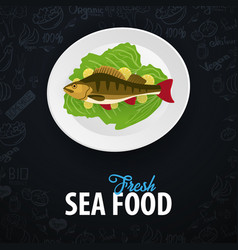 fresh sea food fish dish banner with hand-draw vector image