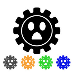 Gear wonder smiley icon vector