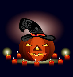 glowing pumpkin in a hat for halloween and candles vector image