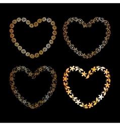 Golden floral heart frame vector