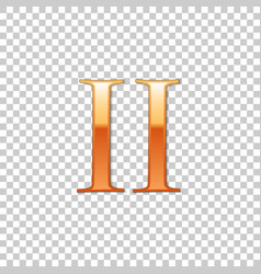 golden roman numeral number 2 ii two in alphabet vector image