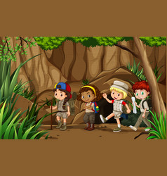 Group of camping kids vector