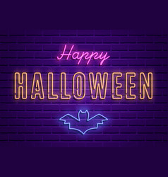 happy halloween party bright signboard vector image