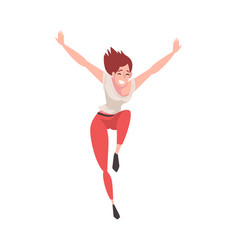 happy young woman running with raising hands up vector image