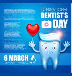 Helthy tooth with toothpaste and glossy heart vector