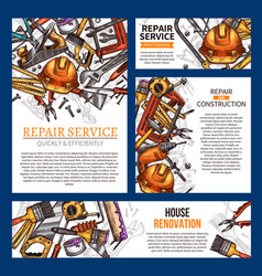 House repair and renovation banner with tool vector