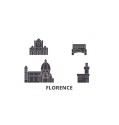 Italy florence city flat travel skyline set vector