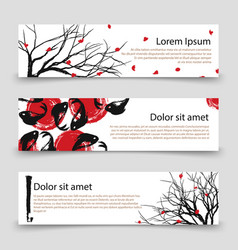 Japanese banner templates asian banners with vector