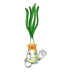 King fresh scallion isolated on the mascot vector