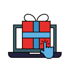 Laptop computer gift box clicking vector