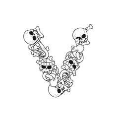 letter v skeleton bones font anatomy of an vector image