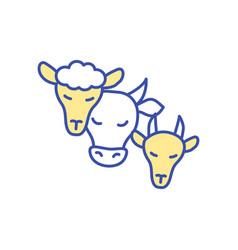 Livestock animals rgb color icon vector