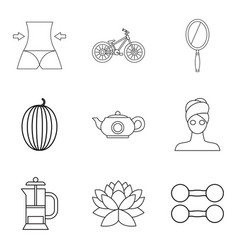 Lose weight icons set outline style vector