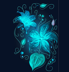 magic fantasy neon blue flowers beauty nature vector image