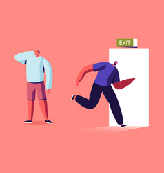 man run to open door with exit signboard new vector image