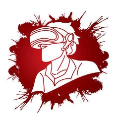 Man wearing virtual reality glasses cartoon vector