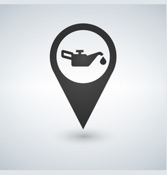 map mark with an oil sign icon flat style vector image