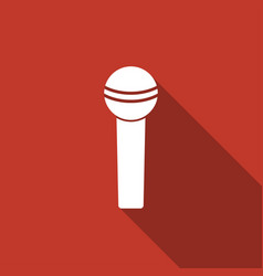 Microphone icon on long shadow vector