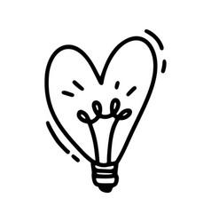 Monoline cute lamp in form of heart vector
