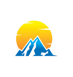 Mountain and sun logo design vector
