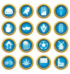netherlands icons blue circle set vector image