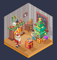 new year isometric room fireplace christmas tree vector image