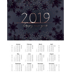 new years of 2019 calendar with grid a6 size vector image