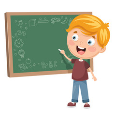 of a kid writing on board vector image