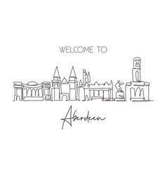 one single line drawing aberdeen city skyline vector image