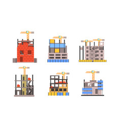outdoor constructive works with cranes and vector image