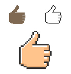 pixel icon fist with raised thumb in three vector image