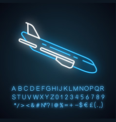 Plane flying down neon light icon vector