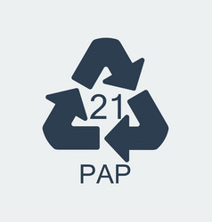 Plastic recycling symbol pap 21wrapping plastic vector