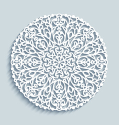 Round doily with lace pattern vector