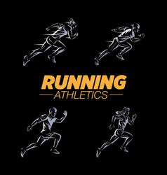 running logo templates set vector image