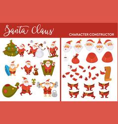 santa claus winter character set merry christmas vector image
