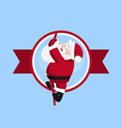 Santa climbing in the round logo vector image